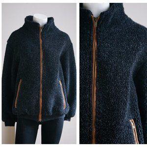Vintage Charcoal Gray Fleece Sherpa  Zip JAcket